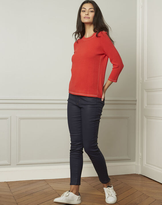 Avocado red pullover with buttons and lurex details (2) - 1-2-3
