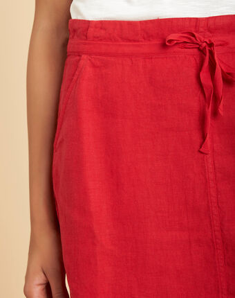 Lumio red linen skirt with tie red.
