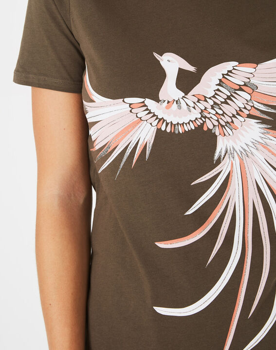 Tee-shirt kaki imprimé phœnix Butterfly (3) - 1-2-3
