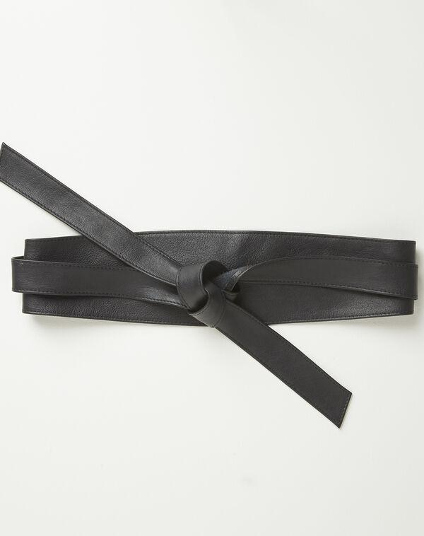 Ceinture large noire en cuir à nouer Raul (1) - 1-2-3