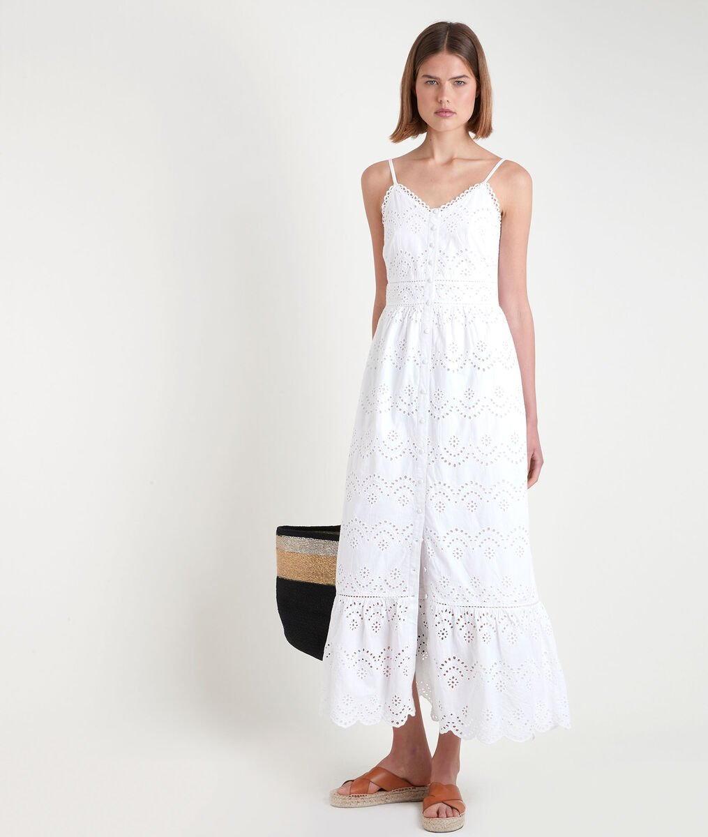 Robe longue en broderie anglaise blanche LYS PhotoZ | 1-2-3