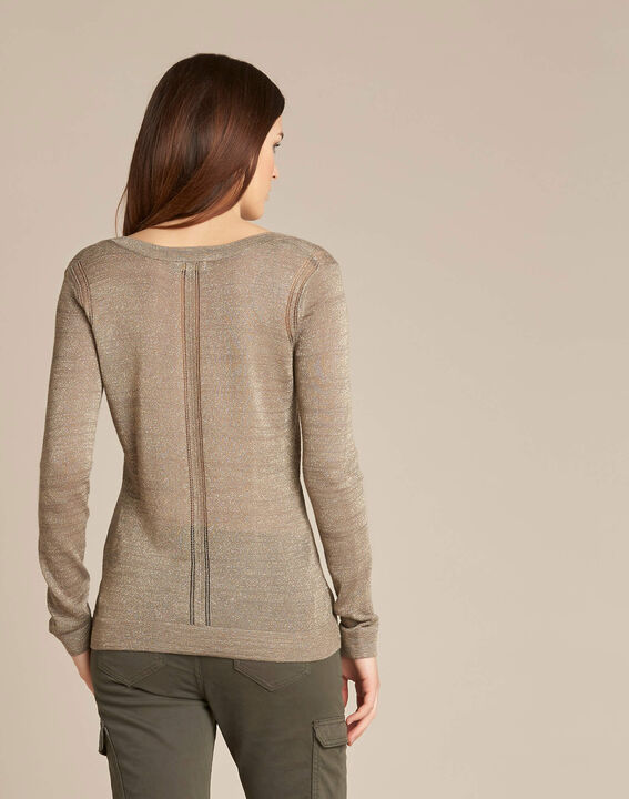 Noisetier khaki openwork shiny sweater (4) - 1-2-3