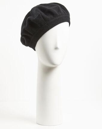 Beret noir en cachemire ustave noir.