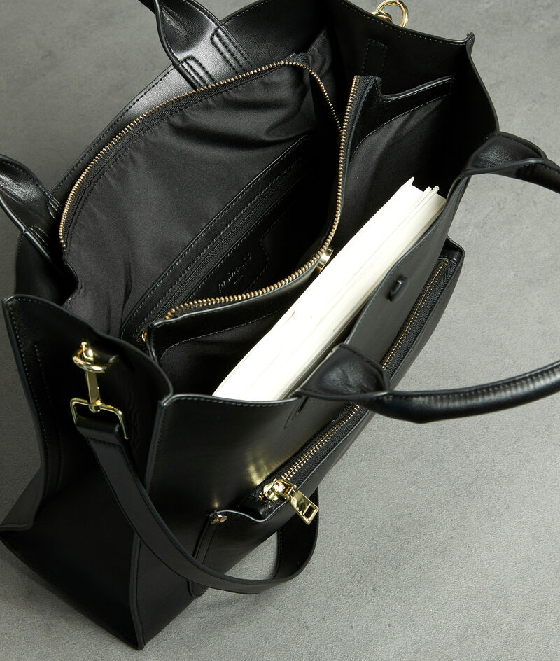 Steife Tragetasche aus schwarzem Leder Jeanette PhotoZ | 1-2-3