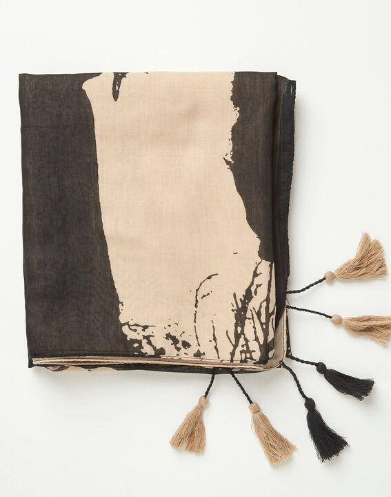 Cremefarbenes und schwarzes Halstuch mit Print Alexio (2) - 1-2-3