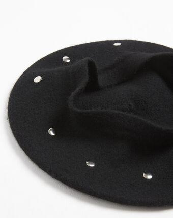 Beret noir à studs en laine ulali noir.