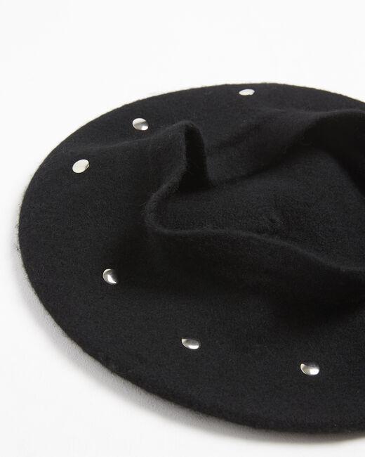 Beret noir à studs en laine Ulali (1) - 1-2-3