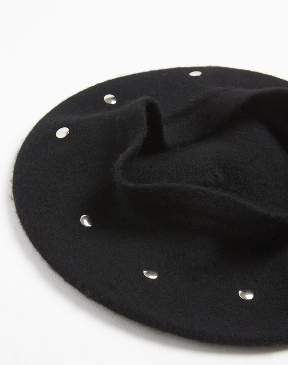 Ulali studded black wool beret (2) - 1-2-3