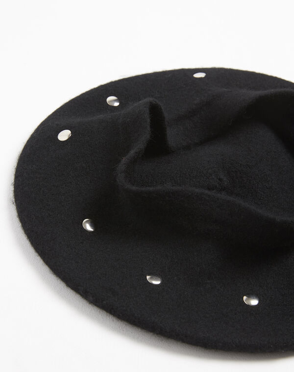 Beret noir à clous en laine Ulali (2) - 1-2-3