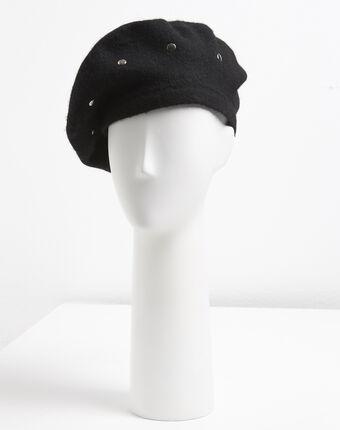 Beret noir à clous en laine ulali noir.