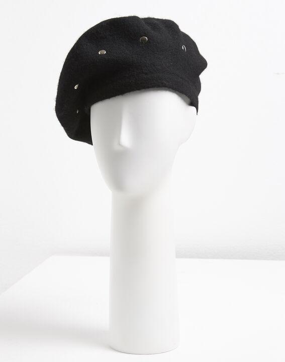 Ulali studded black wool beret PhotoZ | 1-2-3