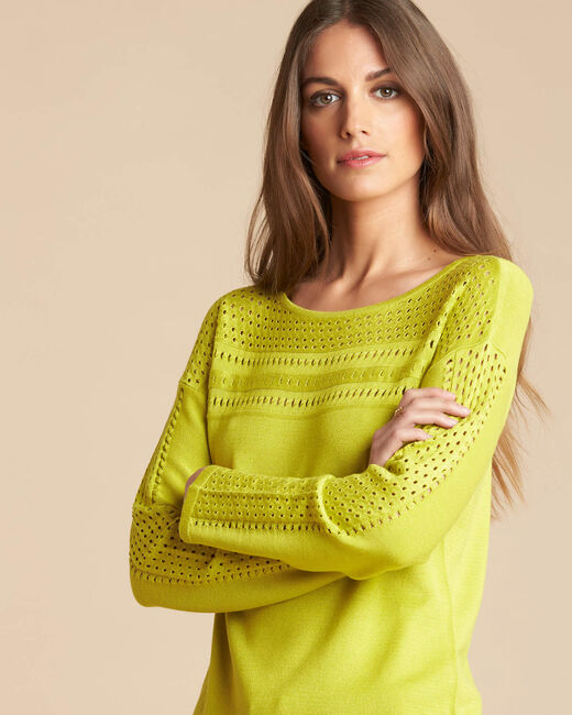 Nefle aniseed sweater with openwork neckline (2) - 1-2-3