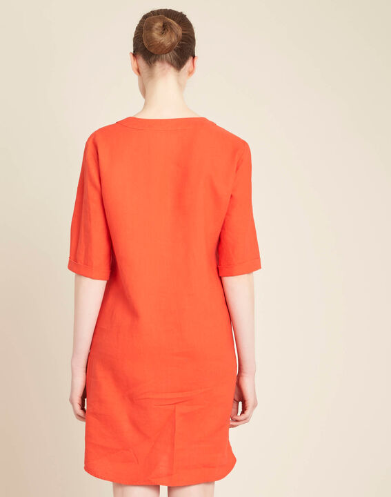 Pavot orange linen dress with eyelets on the neckline (4) - 1-2-3