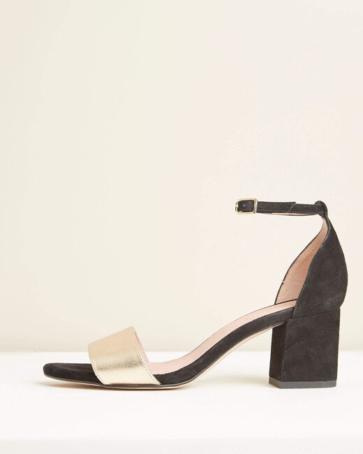 Khloe black and gold leather heeled sandals (2) - 1-2-3
