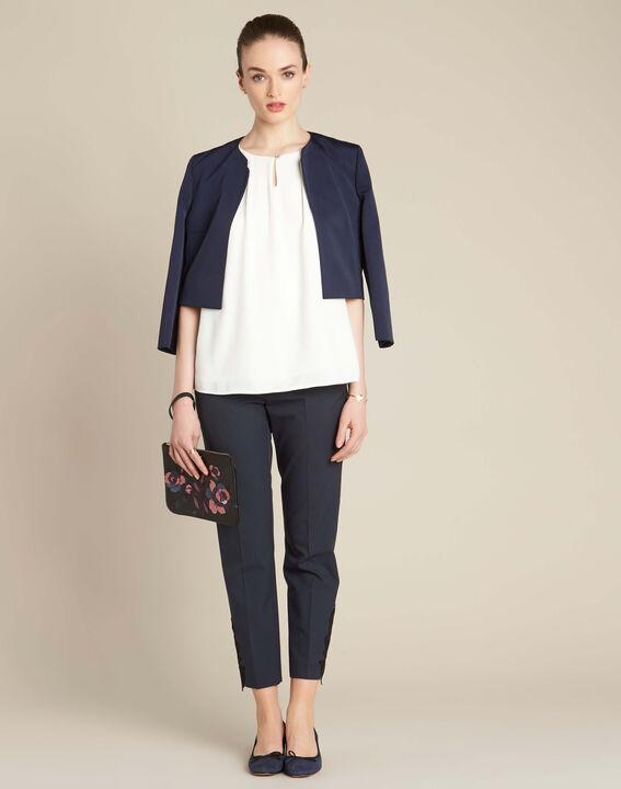 Pantalon de tailleur marine à pinces détails dentelle Valero (2) - 1-2-3