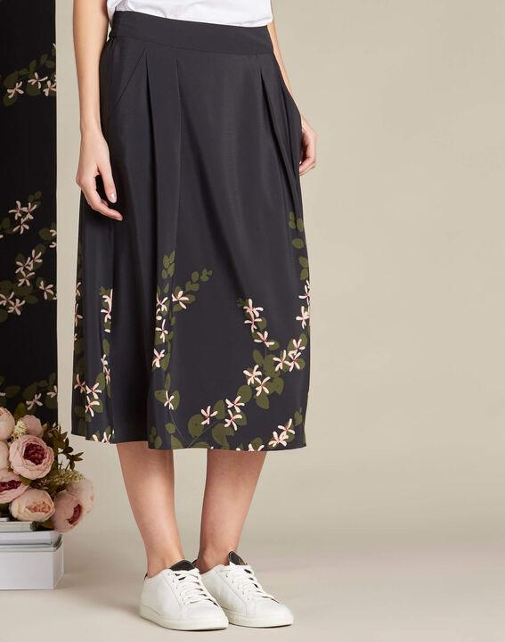 Jupe noire midi imprimé floral Lilea (3) - 1-2-3