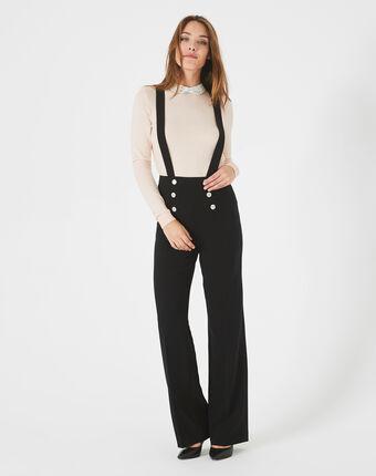 Pantalon de tailleur noir boutonné à bretelles valeur noir.
