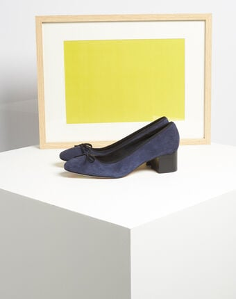 Kalista navy velvet-effect shoes with square heels navy.