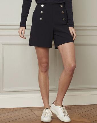 Marineblaue shorts mit doppelter knopfleiste aus mikrofaser greg marineblau.