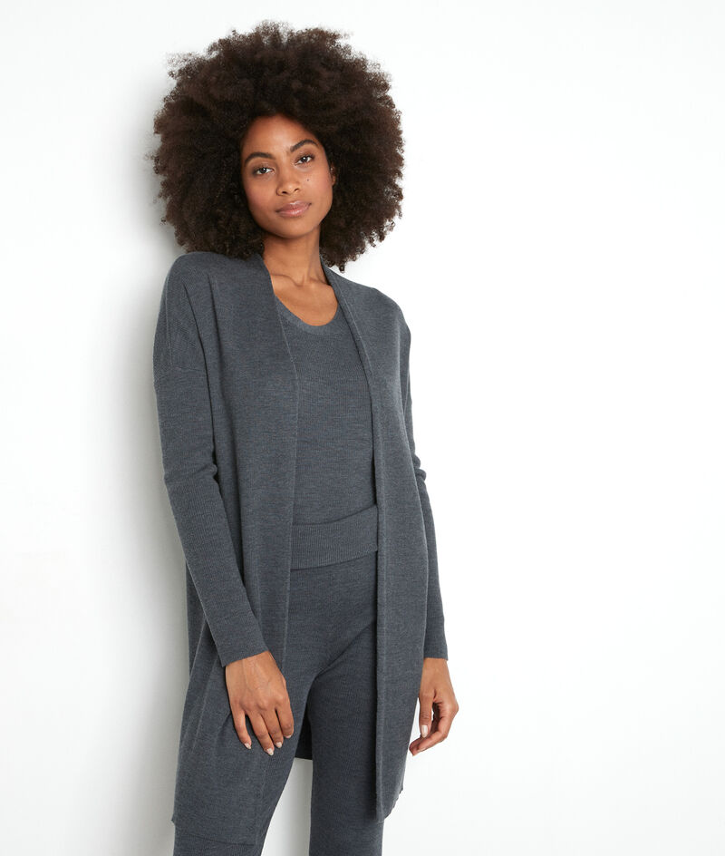 Gilet long en laine fine recyclée gris anthracite Tiago PhotoZ | 1-2-3
