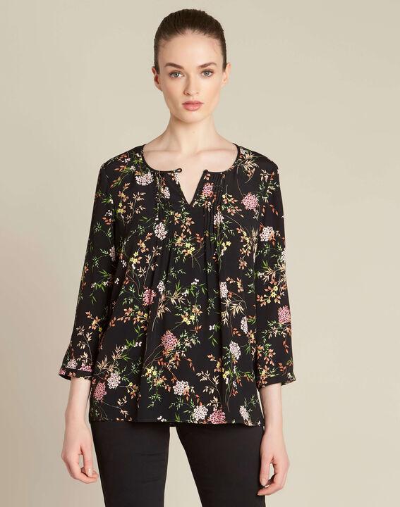 Schwarze Bluse mit Blumenprint Anouchka (3) - 1-2-3