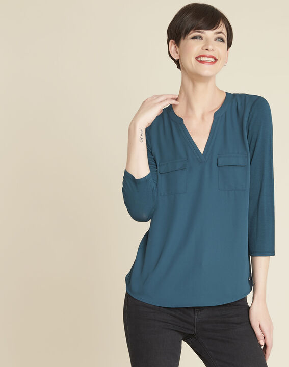 Genna V-neck emerald green dual-fabric blouse PhotoZ | 1-2-3