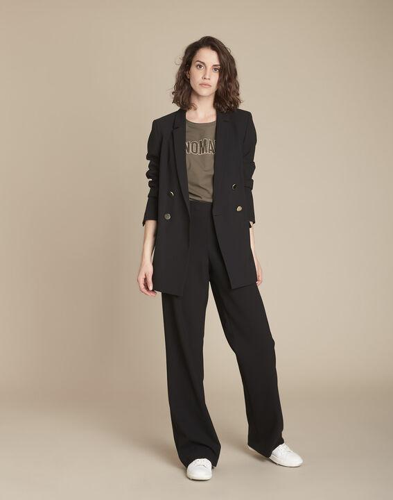 Pantalon noir à pont en microfibre Hubert PhotoZ | 1-2-3