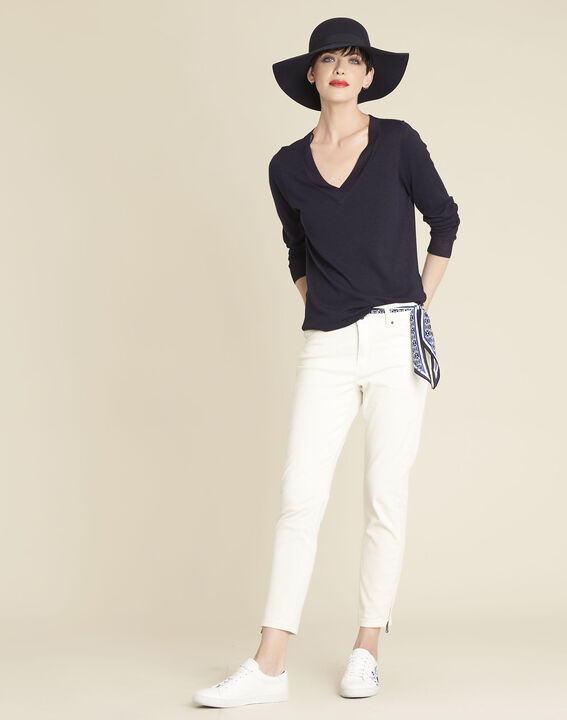 Bergamotte navy fine-knit sweater with V-neck (2) - Maison 123