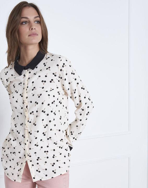 Lichtroos hemd met kersenprint Venus (2) - Maison 123