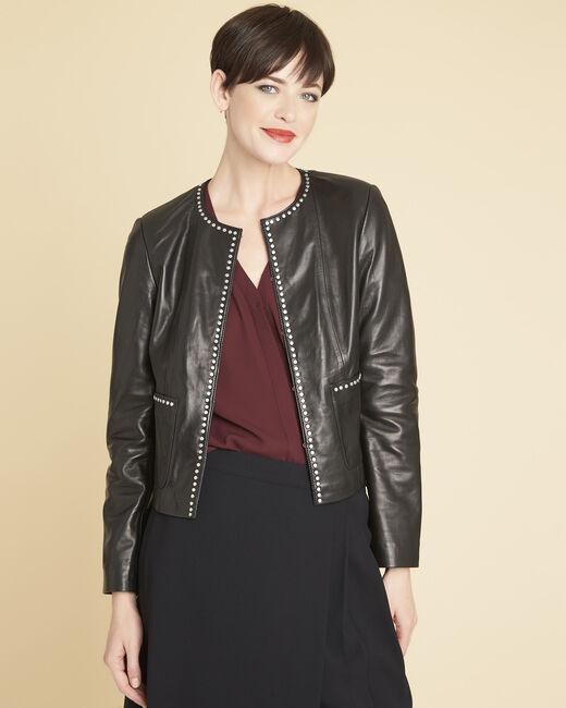 Veste noire en cuir détails cloutés Vanessa (2) - 1-2-3