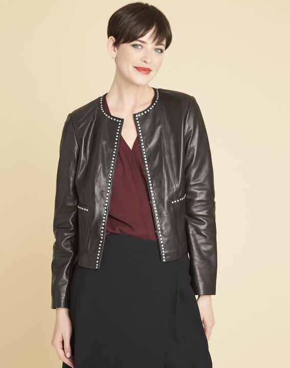 Vannessa black leather jacket with studded detailing PhotoZ | 1-2-3