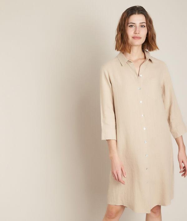 Robe chemise en lin beige Céline PhotoZ | 1-2-3
