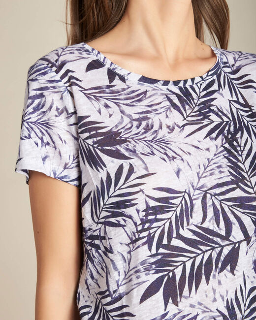 Blaues Leinen-T-Shirt mit Palmenprint Eve (1) - 1-2-3