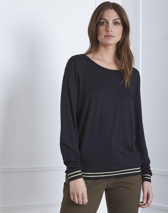 Tee-shirt noir fluide bords côtes rayés Pompom (1) - Maison 123