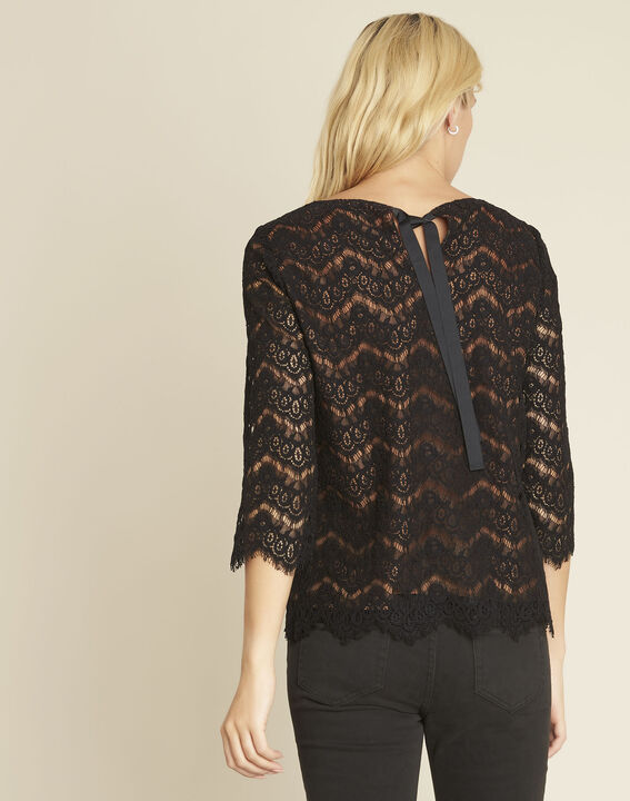 Geraldine black lace blouse with lining (4) - 1-2-3