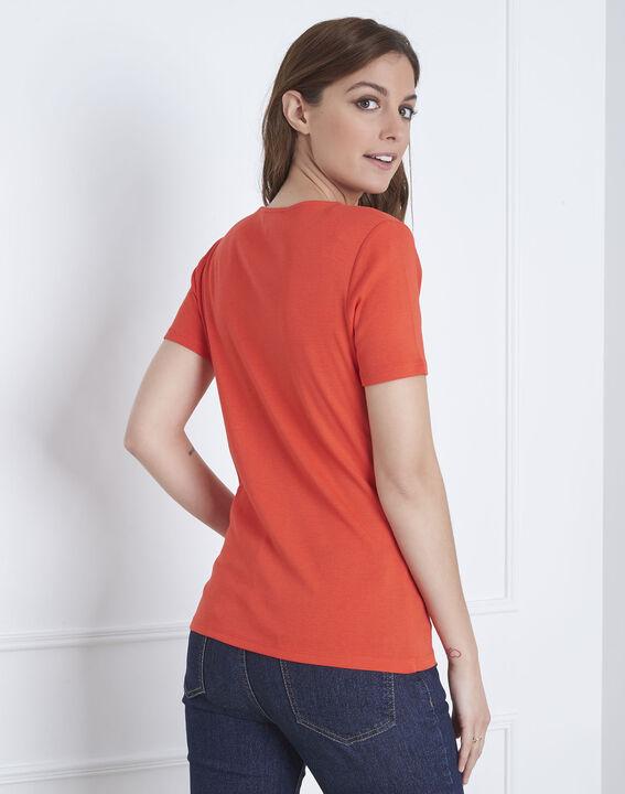 Rotes T-Shirt Halsausschnitt Lurex Etincelant (3) - Maison 123