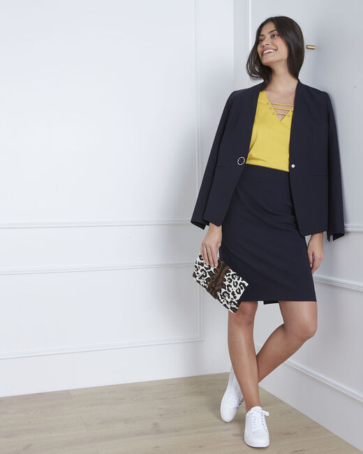 Fancy pencil skirt with navy lateral band (1) - 1-2-3