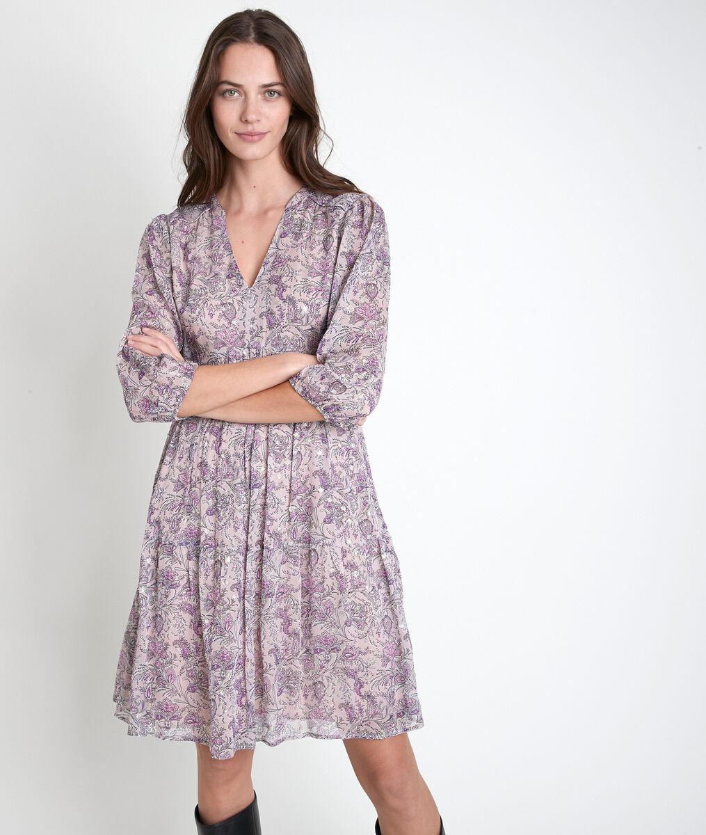 Violettes Kleid mit Druckmuster Minette PhotoZ   1-2-3