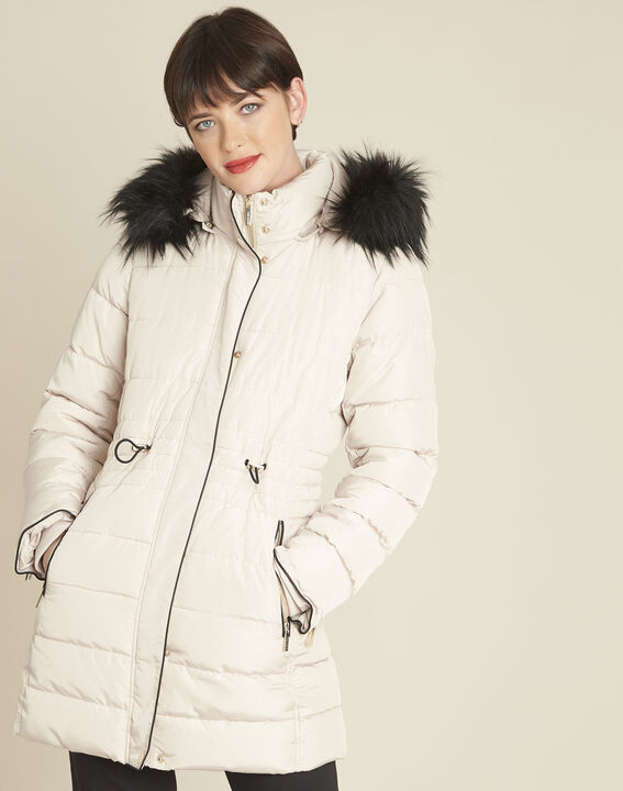 Perrine beige faux fur hooded down jacket PhotoZ | 1-2-3