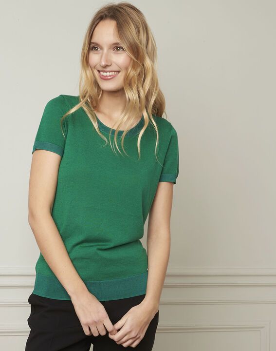 Pull vert fin manches courtes Begonia (1) - Maison 123