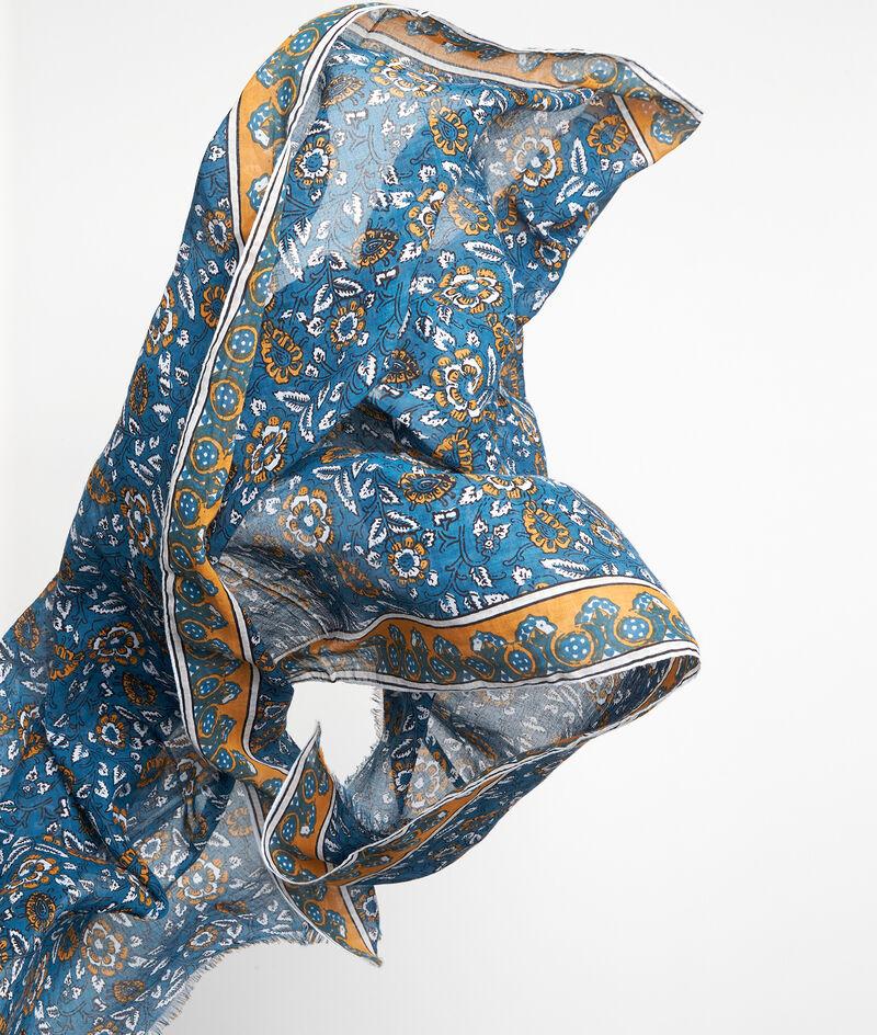 Foulard en coton imprimé bleu et jaune Pablo PhotoZ | 1-2-3