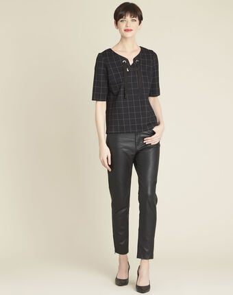 Geck black checked blouse with laced neckline black.