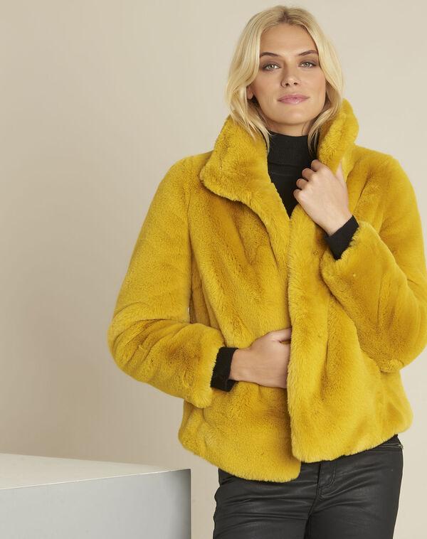 Manteau jaune fausse fourrure Emy (1) - 1-2-3