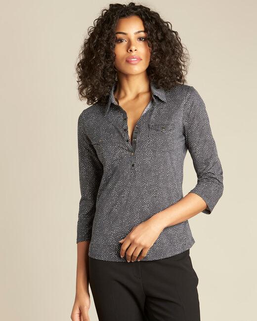 Schwarzes Polo-Shirt mit Tupfen-Print Laura (2) - 1-2-3