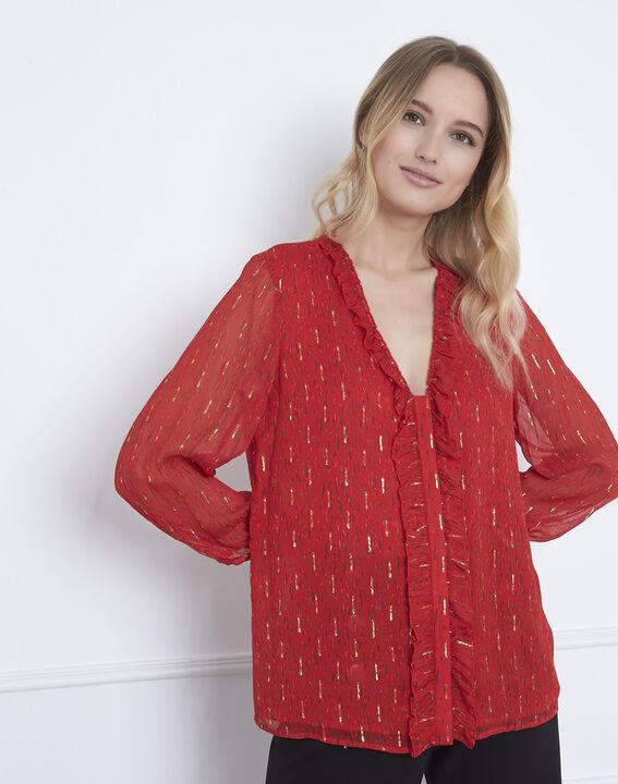 Rote Bluse mit Lurex-Details und Volants Vidal (1) - Maison 123