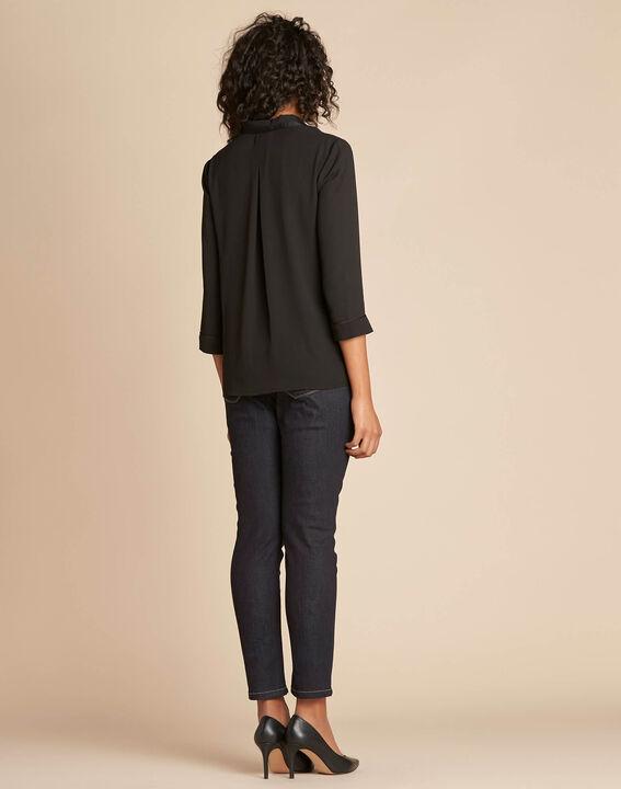 Elea black blouse with romantic neckline (4) - 1-2-3