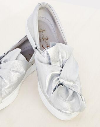 Natanael silver tie trainers silver.