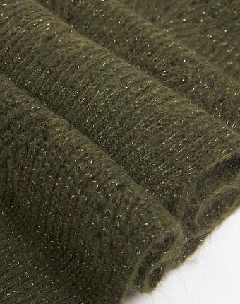 Kaki sjaal van breiwerk met ajour frida feuille.