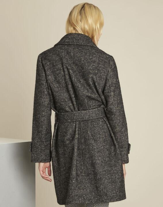 Manteau gris chiné en laine mélangée Elaine (4) - 1-2-3