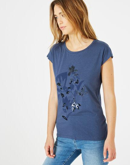 Tee-shirt bleu roi imprimé Bambou (1) - 1-2-3